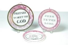 THREE ROUND SUNDERLAND LUSTER FLUE COVERS WITH BIBLICAL QUOTES.