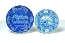 TWO BLUE AMERICAN SCENE TRANSFERWARE PLATES.