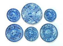 SIX DARK BLUE QUADRUPED PLATES BY HALL.