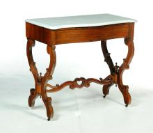 VICTORIAN MARBLE-TOP HALL TABLE.