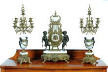 BAROQUE-STYLE MANTEL CLOCK SET.