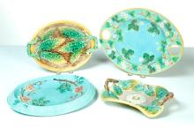 FOUR MAJOLICA DISHES.