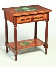 WASHSTAND DECORATED BY LEW HUDNALL (OHIO, 1918-1995).