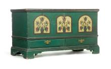 DECORATED PENNSYLVANIA CHIPPENDALE BLANKET CHEST.