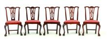 SET OF FIVE AMERICAN CHIPPENDALE CHAIRS.