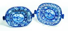 HISTORICAL BLUE STAFFORDSHIRE BASKET AND UNDERTRAY.