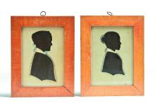 PAIR OF SILHOUETTES BY ANSON NEWELL (ELLINGTON, CONNECTICUT, MID 19TH CENTURY).