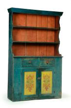 AMERICAN DECORATED OPEN-TOP CUPBOARD.