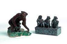 TWO PIECES OF AMERICAN SEWERTILE WITH MONKEYS.