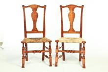 SET OF SIX QUEEN ANNE-STYLE CHAIRS.