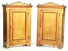 PAIR OF AMERICAN DECORATED CUPBOARDS.