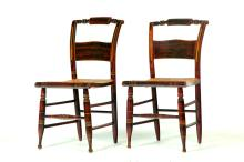 PAIR OF AMERICAN HITCHCOCK-TYPE CHAIRS.