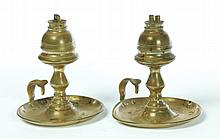 PAIR OF BRASS WHALE OIL LAMPS.