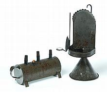 TWO PIECES OF TIN LIGHTING.