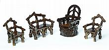 FOUR PIECES OF MINIATURE ADIRONDACK-STYLE POTTERY FURNITURE.