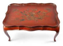 CHINOISERIE STYLE TRAY TOP TABLE.