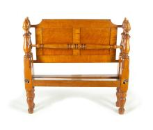 TIGER AND BIRD'S-EYE MAPLE EMPIRE BED.