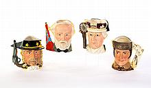 FOUR ROYAL DOULTON CHARACTER JUGS FROM THE ANTAGONIST SERIES.