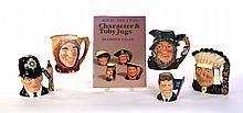 FIVE ROYAL DOULTON CHARACTER JUGS AND THE CHARACTER JUG BOOK.