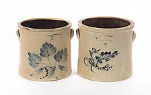 TWO THREE-GALLON STONEWARE JARS WITH IMPRESSED MARKS AND FREEHAND COBALT DECORATION.