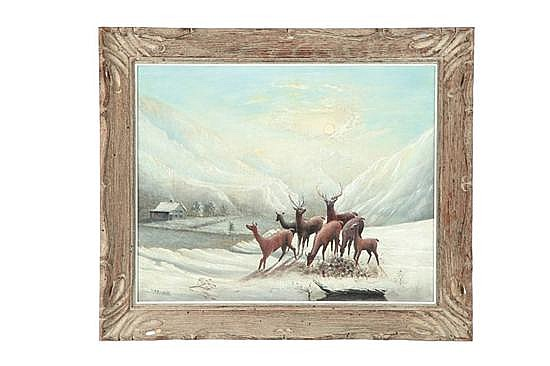 DEER IN A WINTER LANDSCAPE BY T. M. N. WHALL (AMERICAN, 20TH CENTURY).