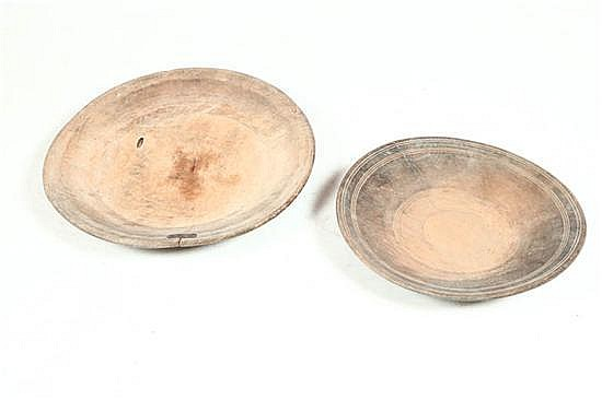 TWO TREENWARE CHARGERS.