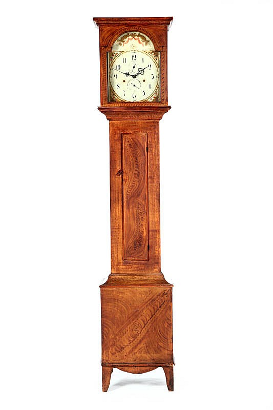 DECORATED TALL CASE CLOCK.
