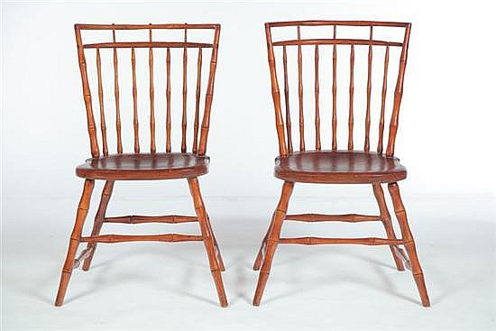 ***PAIR OF BIRDCAGE WINDSOR SIDE CHAIRS.
