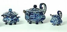 THREE-PIECE HISTORICAL BLUE STAFFORDSHIRE TEA SET.