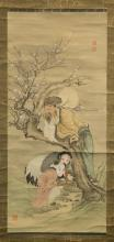 ASIAN SCROLL PAINTING OF SCHOLAR AND BOY