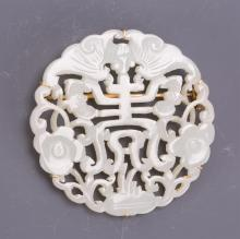 CHINESE WHITE JADE PLAQUE ON 14K GOLD BROOCH