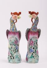 A PAIR OF CHINESE EXPORT PORCELAIN PHOENIX BIRD
