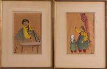 TWO KOREAN FRAMED PAINTING - MOTHER AND DAUGHTER