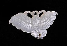 CHINESE WHITE JADE BUTTERFLY BUTTON