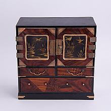 JAPANESE LACQUER CABINET WITH BRASS FITTING