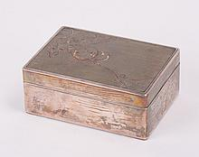 JAPANESE MIXED METAL SILVER BOX WITH BIRD SCENE