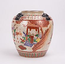 CHINESE WUCAI PORCELAIN VASE WITH FOO LION MASK