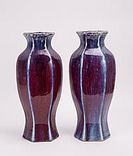 A PAIR OF CHINESE FLAMBE HEXAGONAL PORCELAIN VASES