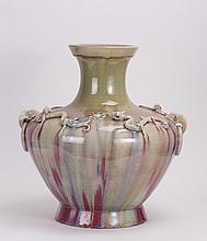 CHINESE FLAMBE PORCELAIN VASE WITH DRAGON