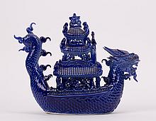 CHINESE BLUE PORCELAIN DRAGON BOAT