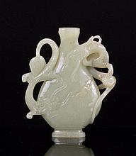 CHINESE YELLOW JADE CARVED DRAGON FLOWER VASE