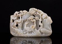 CHINESE JADE BOULDER CARVED CRANE AND PINE TREES