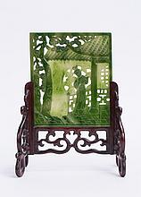 CHINESE SPINACH GREEN JADE MINIATURE TABLE SCREEN