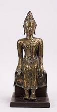 ANTIQUE THAI BRONZE SEATED BUDDHA ON WOODEN STAND
