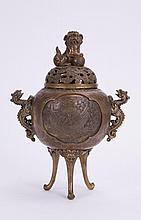 CHINESE BRONZE CENSER WITH PHOENIX SCENE