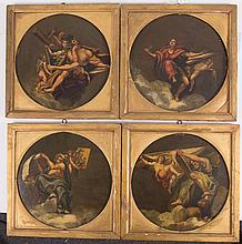 4 FRENCH OIL ON COPPER PAINTING OF ANGELS