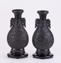 PAIR CH MOLDED DRAGON PHOENIX PORCELAIN VASE
