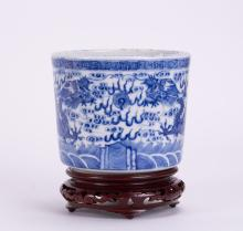 CHINESE BLUE WHITE PORCELAIN CENSER W/ DRAGON