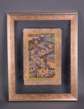 INDIAN PAINTING OF FIGURAL SCENE IN GLASS FRAME