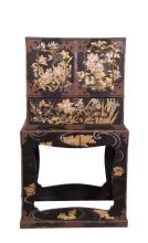 JAPANESE LACQUER CABINET W/ MOTHER OF PEARL INLAY
